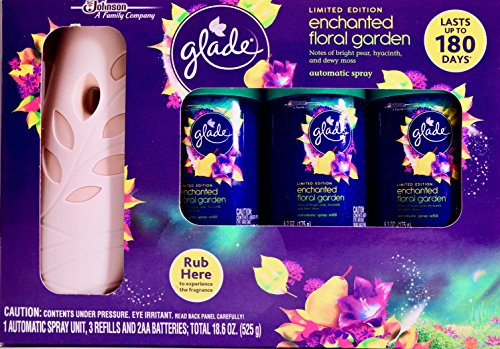 Glade Limited Edition Enchanted Floral Garden, 1 Automatic Spray Unit & 3 Refills