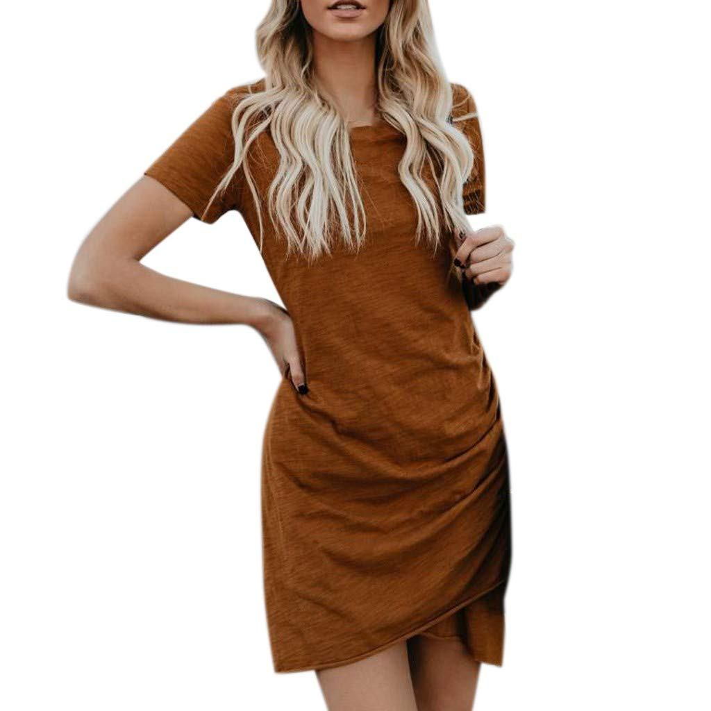 Womens Dress Shirts Summers Sexy Wrap Dress Short Sleeve Solid Casual Skirt Sun Mini Dress Brown