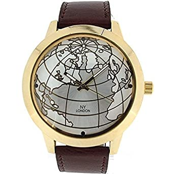 Prince london mens globe world map brown pu leather strap gold prince london mens globe world map brown pu leather strap gold analog watch quartz gumiabroncs Images