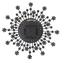 Transer 3D Metal Wall Clock Diamonds Flower Non-Ticking Silent Dazzling Clock (Black)