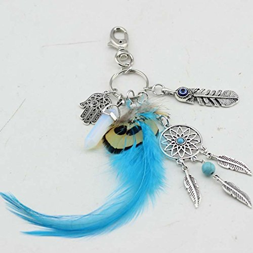 Qinlee Key Ring Gemstone Yin Yang Pendant Dream Catcher Feather Leaf Keychain Keyring FOR (Yang Gemstone)