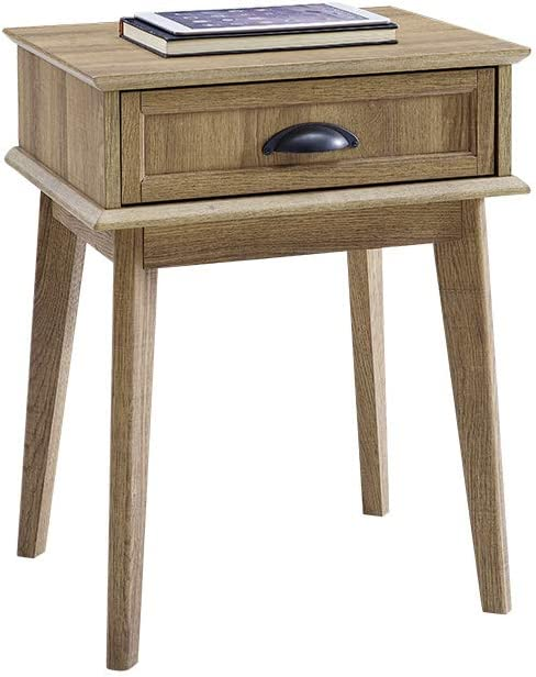 Newport Series Tall End Side Table with Fully Extended Storage Drawer | Night Stand | Sturdy and Stylish | Easy Assembly | Golden Oak Wood Look Accent Living Room Bedroom Home Decor Retro Furniture