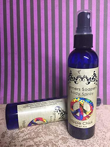Hippie Chick Scented 4oz Body Spray Lavender Patchouli Body Spritz Fragrance Hair Conditioner Spray Perfume Scented Body Mist