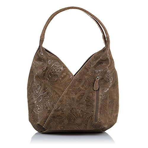 Women ARTEGIANI ITALY Blue FIRENZE LEATHER33x33x18 handbag Shoulder GENUINE ITALIAN Color IN Bag Leather Hobo Leather cm Brown Genuine MADE engraved 5BqxUqwd