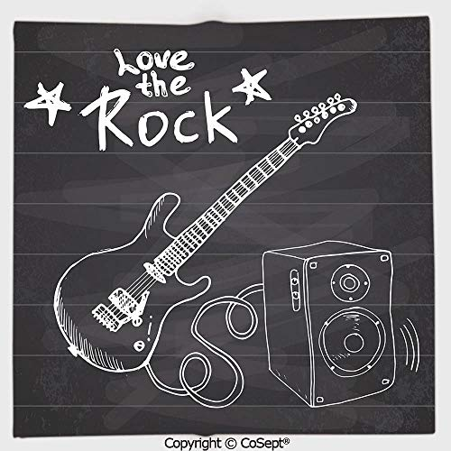 AmaUncle Microfiber Square Towel,Love The Rock Music Themed Sketch Art Sound Box and Text on Chalkboard Print Decorative,Suitable for Camping,Running,Cycling,Gym(19.68x19.68 inch),Dark Taupe White