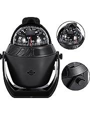 Filfeel Kompas met led-licht, elektronisch navigatiekompas met draaibaar kompas van hoge precisie, professioneel, voor auto, boot (zwart)
