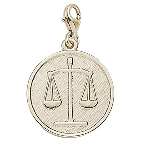 Gold Plated Scales Of Justice Charm With Lobster Claw Clasp, Charms for Bracelets and Necklaces (Plated Gold Justice)
