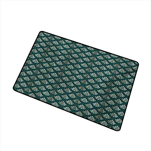 (BeckyWCarr Damask Welcome Door mat French Pattern Inspired by Rococo Era Designs Intricate Renaissance Motifs Door mat is odorless and Durable W31.5 x L47.2 Inch,Jade Green Gold)