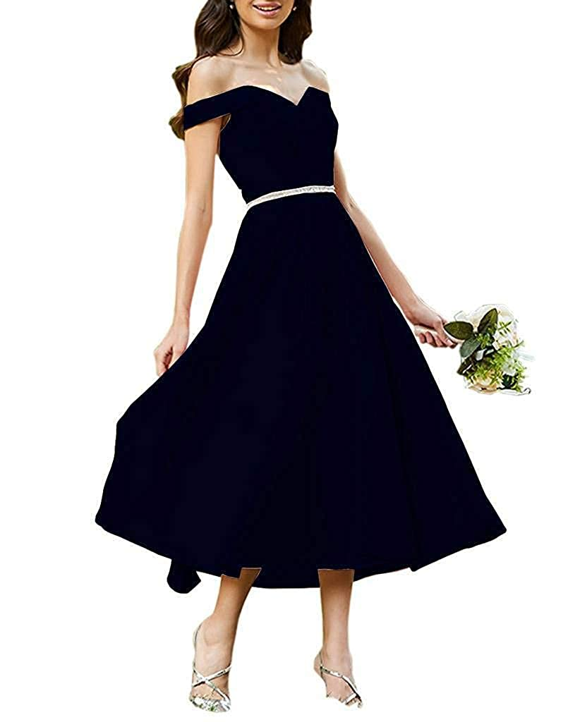 Navy bluee Staypretty Bridesmaid Dresses Off Shoulder Beaded Satin Tea Length Formal Evening Prom Gowns