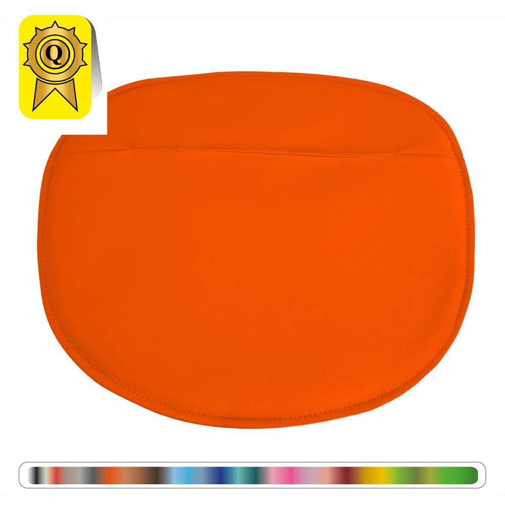 Decopresto Lot 4 x Coussin Galette adapt/é pour Chaise Style Scandinave Mati/ère Simili Cuir Coloris Orange DP-PADS-OR-4P