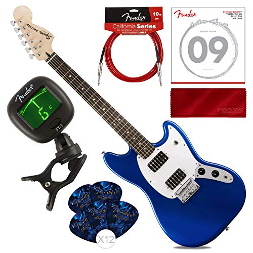 Fender Bullet Mustang HH 6 String Electric Guitar, Imperial Blue with Guitar Strings, Picks, Tuner, Cable & Cloth Starters Pack Bundle