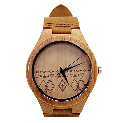 BOSHIHO Reloj de madera de bambú de los hombres con correa de piel de vacuno color café cuarzo japonés Casual Relojes