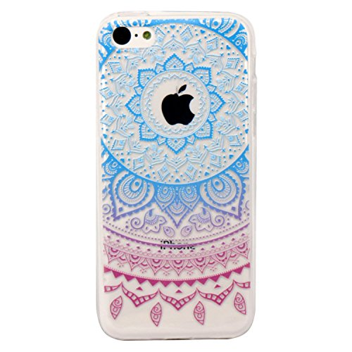 iPhone 5c Case, JAHOLAN Beautiful Clear TPU Soft Case Rubber Silicone Skin Cover for iPhone 5C - Blue and Purple Circle Flower Tribal (Clear Soft Silicone Skin)