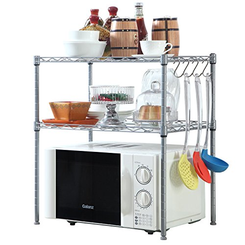 Open Adjustable Steel Shelving (HOMFA Kitchen Microwave Oven Rack Shelving Unit,2-Tier Adjustable Stainless Steel Storage Shelf)