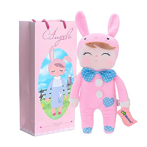 (Me Too Angela Smiling Bunny Baby Stuffed Dolls Rabbit Plush Toys Gifts for Kids 12'' (Pink))