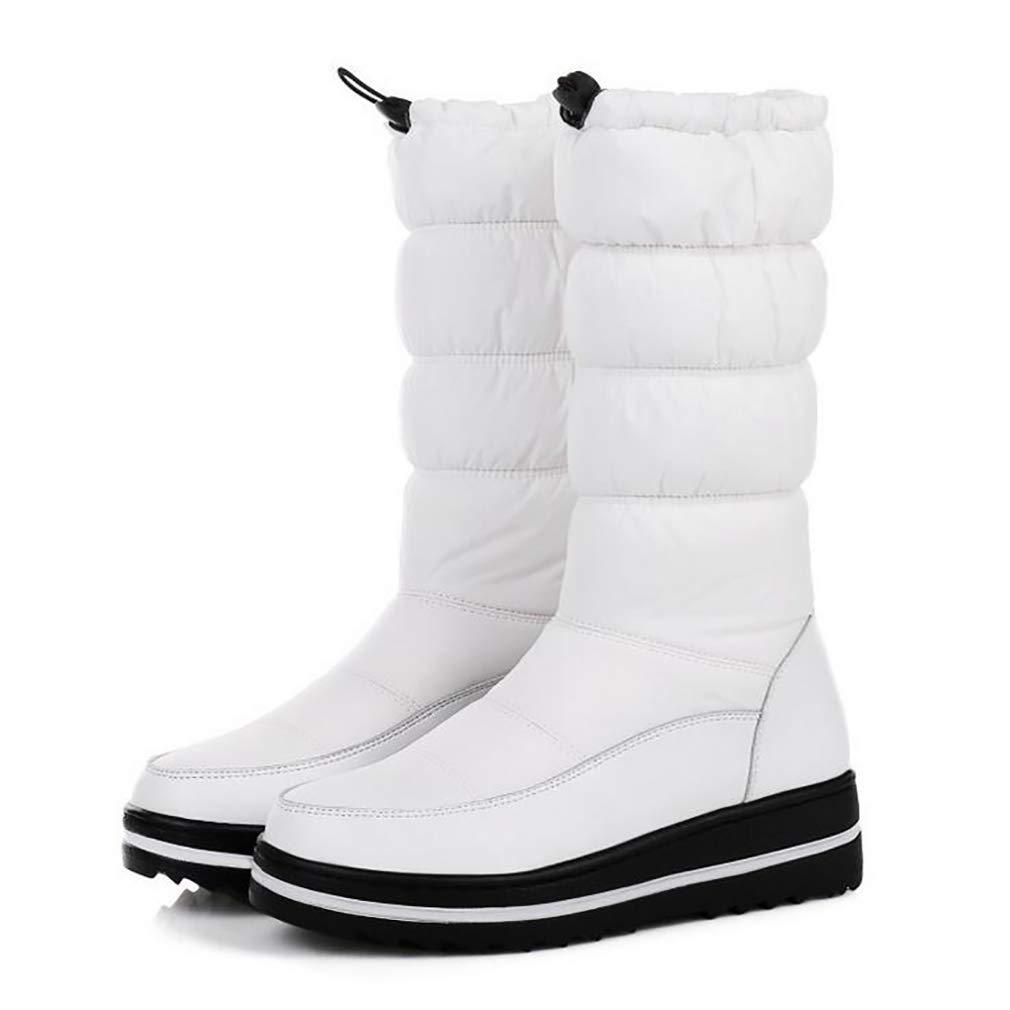 Hy Frauen-Schnee-Aufladungsstiefel-Winter-warme beiläufige Flache warme Schnee-Aufladungen/Winter-Aufladungen/Damen-unten warme Flache windundurchlässige im Freien Schnee-Schuhe (Farbe : Weiß, Größe : 43) - f5d3f9