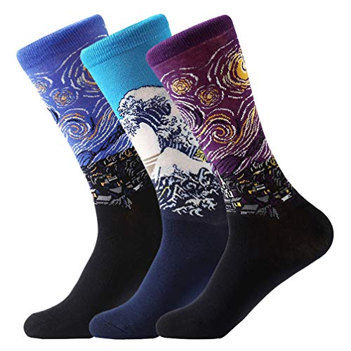 FLYCHEN 3 Pairs of Men's Famous Painting Art Printed Funny Cotton Crew Socks Group 4