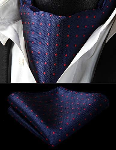 Enlision Set di Cravatta e Fazzoletto in Tessuto Jacquard Intrecciato con Fazzoletto da Taschino e Ascot da Uomo