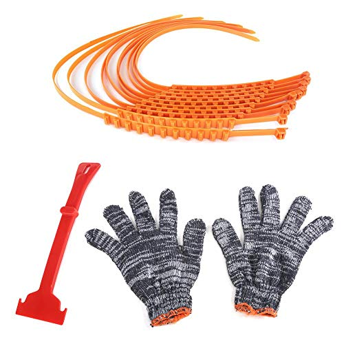 Yunhigh 10pcs Car Anti Skid Chain Universal Snow Chains Car Tire Chains Emergency Cable Traction Safety Chains for Car SUV Truck(Work Gloves & Snow Scraper)