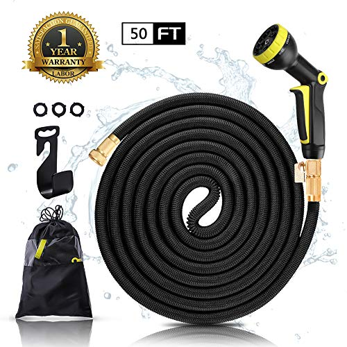 Comewin Garden Hose Expandable Hose 50ft with Strong Solid Brass Fittings Lightweight Portable Watering Hose Flexible Retractable Hose (Black)