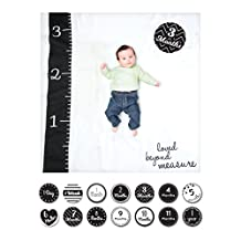 Lulujo Baby's 1st Year Loved Beyond Measure Blanket and Card Set, Black/White