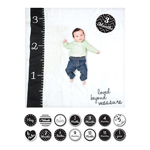 lulujo Baby Baby's First Year Milestone Blanket and Cards Set, Loved Beyond Measure ()