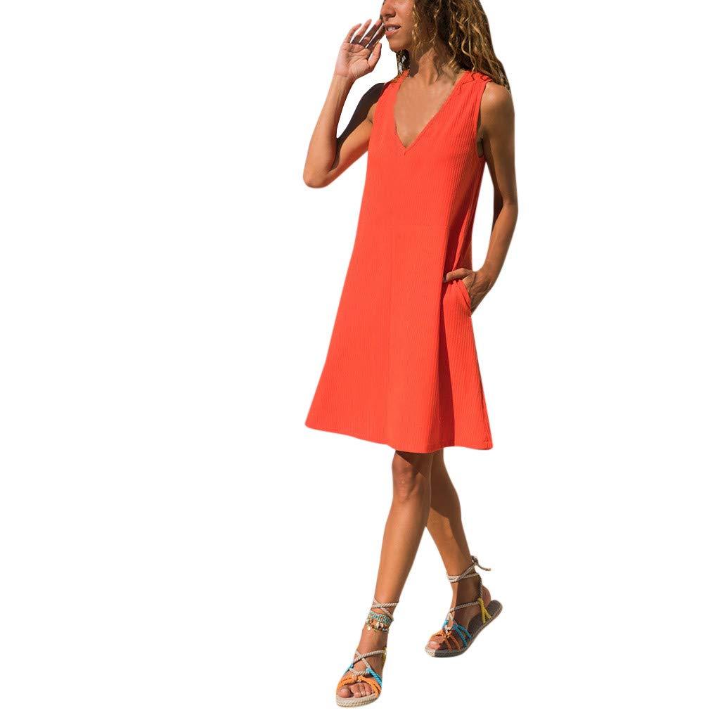 Women Simple Tshirts Mini Dress | Ladies Casual Pure Color Sleeveless Tunic Tank Shift Dresses | Comfy V Neck Pocket Dress