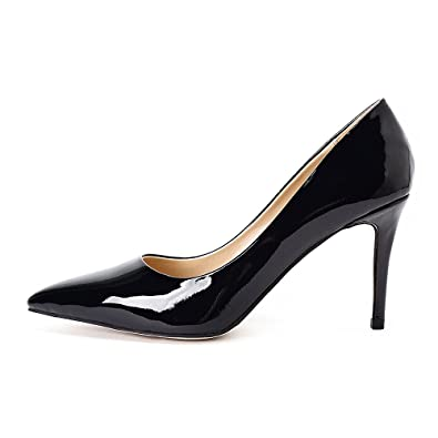 a134a3e4da7 Women s Leather Dress Pump High Heel 85mm Pointed Toe Black Nude Red Patent  Classic Stiletto Heels