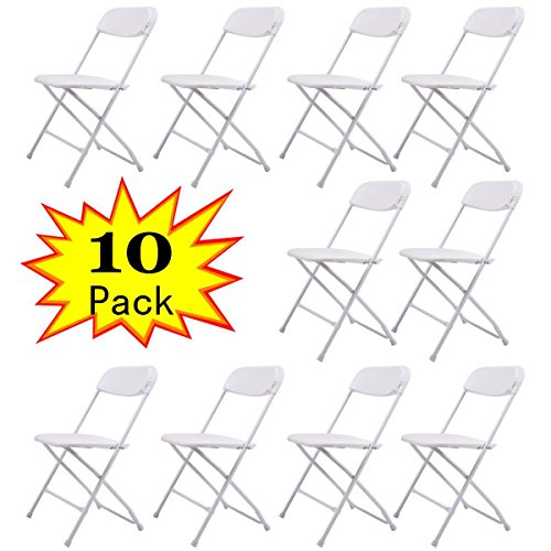 JAXPETY 10PCS Plastic Folding Chairs Wedding Banquet Seat Premium Party Event Chair White ()