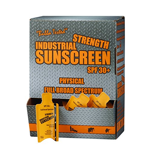 - Box of 100-5ML Packet Industrial Zinc Oxide Sunscreen SPF30+, Full Broad Spectrum, Rubs in Clear, Protects Immediately, 80-min Water Resistance. Anti-inflammatory Properties.