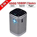 Projector 4500 Lumens DLP Support Full HD 1080P 200in with WiFi Bluetooth AirPlay HDMI Android OS Mini Projector