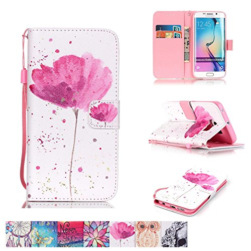 Galaxy S6 Edge Case, Firefish [Kickstand] [Card/Cash Slots] Impact Dispersion PU Leather Wallet Flip Cover with Wrist Strap for Samsung Galaxy S6 (Tinted Pink Case)