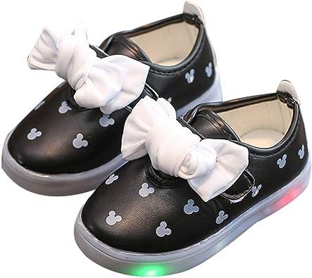 LanXi Girls Led Light Up Shoes Bowknot