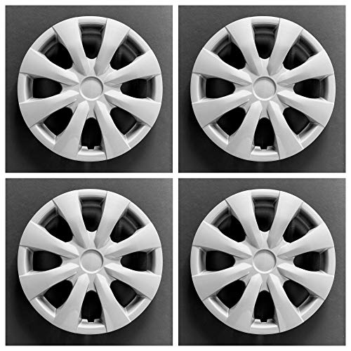 MARROW New Wheel Covers Hubcaps Fits 2009-2013 Toyota Corolla; 15 Inch; 8 Spoke; Silver Color; Plastic; Set of 4; Standard Leg