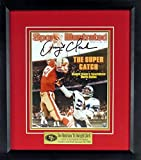 SF 49ers Dwight Clark Autographed The Catch SI 8x10 Digital Image (w/Joe Montana To Dwight Clark Plate) Framed