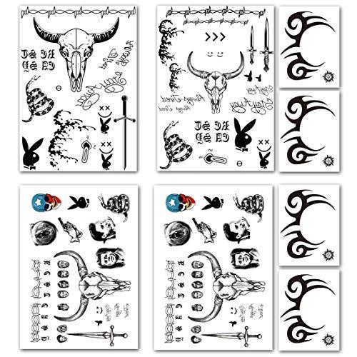 Biker Makeup Halloween (Leoars Halloween Temporary Tattoos, Tribal Face Tattoo Stickers, Black Totem Fake Tattoos Halloween Props Cosplay Makeup,)