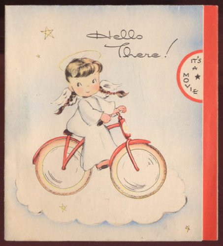 Hello There! It's a Movie animated Heavenly Birthday card ca 1940s - Heavenly Ca