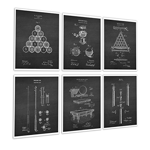 Billiards Pool Room Decor Set of 6 Art Prints of Billiard Pool Table Billiard Balls Billiard Cue Invention Diagrams Patents_Billiard_Chk6A ()