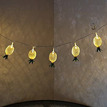 DELICORE 10LED Metal Iron Pineapple Shaped Lanterns String Lights For Indoor/Outdoor Bedroom Christmas Festival Decoration Warm White Light.