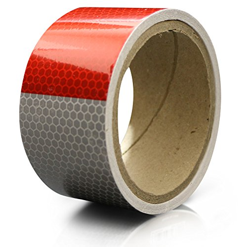 XFasten Reflective Tape, Red & White, 2 Inches by 5 Yards by XFasten