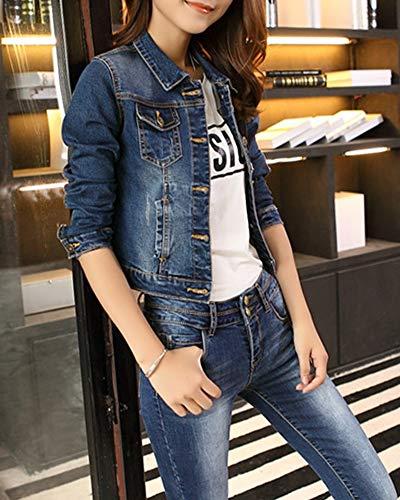 Jeans Blu Giacca Cappotto Giacche Capispalla Fit Autunno Corto Di Slim Donna qqwrp5R