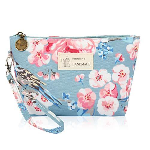 (Portable Travel Clutch Cosmetic Makeup Pouch - Toiletry Organizer Purse, Striped Wristlet Floral, Plaid Print Bag (Trapezoid Wristlet Pouch - Cherry Blossom Light Blue))