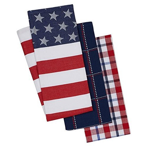 Design Imports 3 Stars and Stripes Kitchen Dishtowels perfect to brighten your summer kitchen Red White and Blue 18