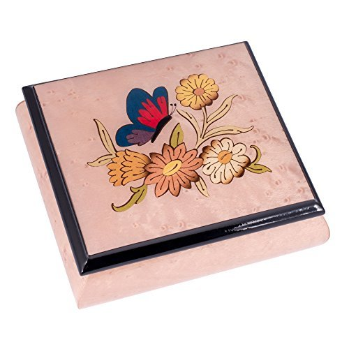 Light Pink Butterfly Italian Handmade Inlaid Hardwood Musical Jewelry Box - Plays Tune Liebestraum by Splendid Music Box Co.