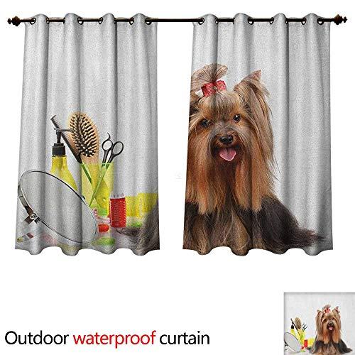 Anshesix Yorkie Outdoor Ultraviolet Protective Curtains Yorkshire Terrier with Stylish Hairdressing Equipment Mirror Scissors W55 x L72(140cm x - Fred Equipment Bear
