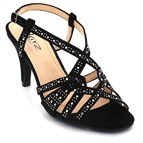 Evening Sparkly Diamante Shoes Party Ladies Ankle Size High Prom AARZ Womens LONDON Sandals Heel Bridal Crystal Wedding Black Strap XqwSYC