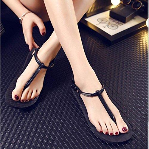 Sandalias del verano de las mujeres, Internet Zapatos del verano Zapatos de la playa simples sandalias planas Negro