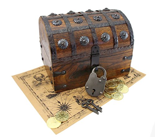Pirate Treasure Chest Iron Lock Skeleton Key Map Plus Metal Pirate Coins By WellPackBox 8 x 6 x - Brass Chest Treasure