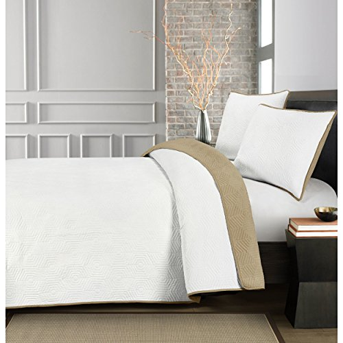 3 Piece White Linen Linen Honeycomb Embroidered King Set, Milk White Light Grey Geometric Reversible Adults Bedding Master Bedroom Sophisticated Elegant Gorgeous Casual Modern, Polyester by PH