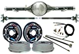 NEW CURRIE 60-62 CHEVY C-10 TRUCK 2WD 5-LUG REAR END WITH 11'' DRUM BRAKES, BRAKE LINES, PARKING BRAKE CABLES, AXLES, BEARINGS, 9'' FORD, 1960 1961 1962 CHEVROLET C10 GMC C15 C1500 WITH TRAILING ARMS